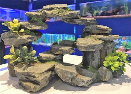 Large Grey Rocky Arch with Plastic Plants Aquarium Fish Tank Ornament